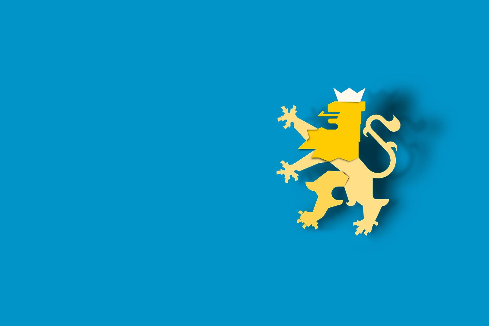 Wappen Löwe auf Blau