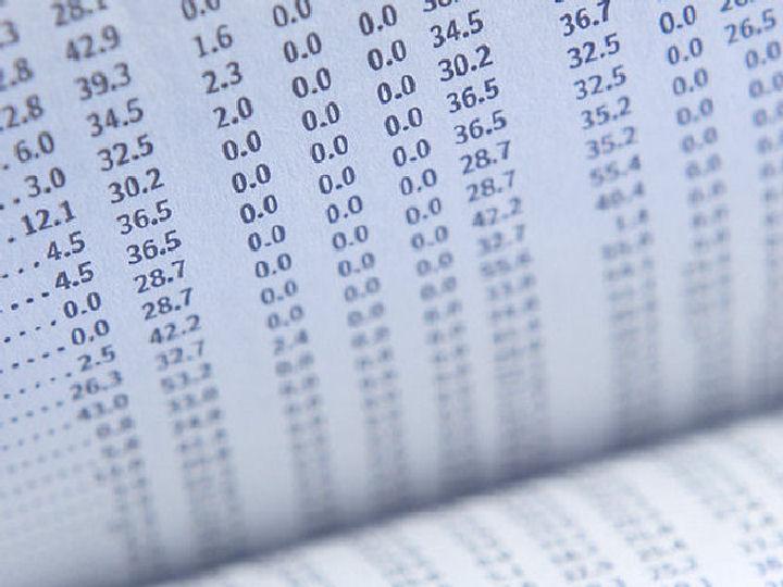 Papier mit Zahlentabelle